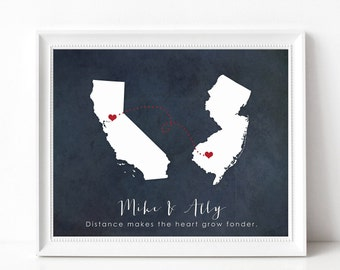Long Distance Relationship Gift Print, Best Friend Gift, Long Distance Boyfriend, Girlfriend, Family, Personalized Two State Silhouette Sign