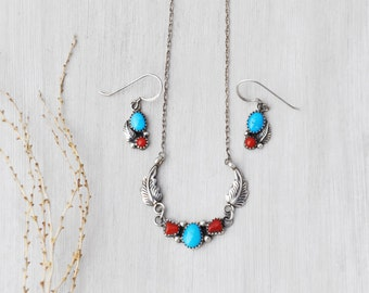 Vintage Navajo Jewelry Set - 925 sterling silver necklace and earrings with turquoise coral - Southwestern Native American