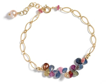 Sapphire Bracelet, Mother's Day Gifts, Multicolored Precious Stones, 14k GF or Sterling Silver, September Birthstone, Bridal Gift