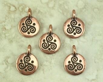 Triple Spiral Stamp charm > Celtic Triskele Irish Ireland St Patricks Day - Copper Plated Lead Free pewter I ship Internationally 2508