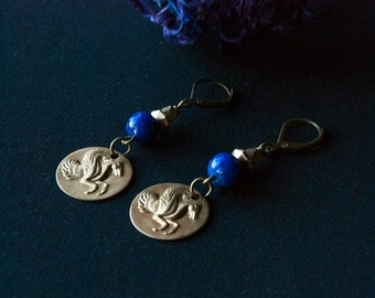 Pegasus Cobalt Blue Galaxy Earrings - Pyrite Beaded - Gold Speckled - Mythology Gift for Her