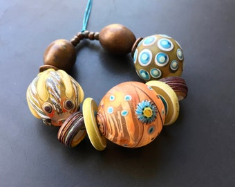 Handmade lampwork hollow blown glass bead set by Lori Lochner rose gold summer garden statement necklace set artisan jewelry supply