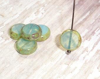 Set of 10 Milky Czech Glass Coin Beads, 10MM opal opalite blue green (H6053)