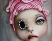 "Original lowbrow pop surrealism Tiffany Fairy Tale 18x5"" Painting"