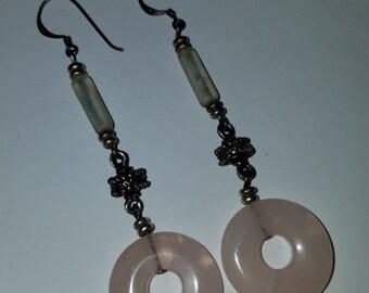 Vintage Sterling Silver Rose Quartz Earrings Love Stone