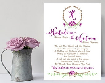 10 Purple Wedding Rehearsal Dinner Invitations - Boho Chic Rehearsal Invitation - Rehearsal Dinner Invitation - Wedding Rehearsal - Rehersal