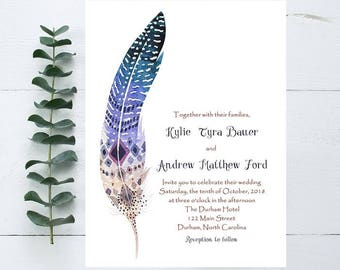 Boho Feather Wedding Invitation- Feather Wedding Invitation - Boho Wedding Invites