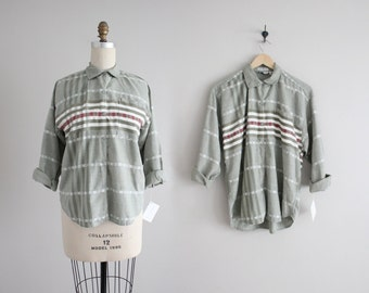 striped cotton blouse | muted green blouse | 80s collared shirt