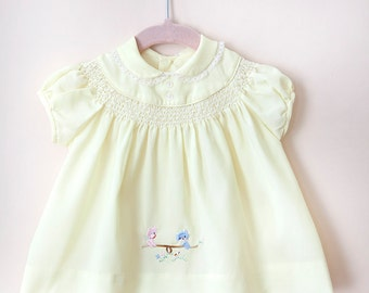 Vintage Baby Dress / Vintage Yellow Baby Dress / Vintage Kitty Dress / Size 3 Months