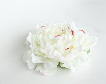 Extra Large Peony in White with Pink Accents - Artificial Flowers - ITEM 0988