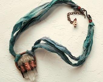 Triple Quartz Crystal Electroformed in Copper on Adjustable Sari Silk Ribbon Necklace