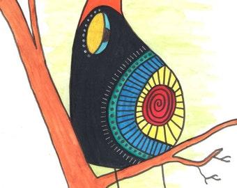Bird in a tree wall art, bird art, bird watercolor, bird painting, animal wall art, animal art, animal watercolor, birds wall art, birds art