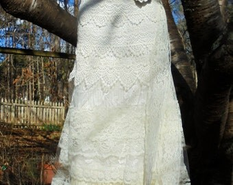 Ivory crochet  dress wedding cream  lace tulle  romantic boho outdoor fairytale small medium by vintage opulence on Etsy