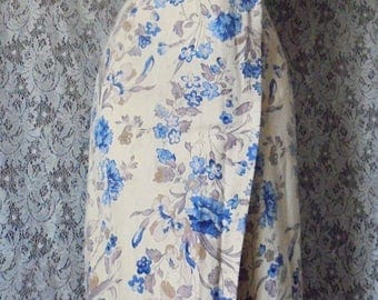 Blue floral  dress linen cotton  wiggle pencil  mid century   50s 60s small medium  from vintage opulence on Etsy