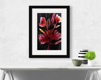 "Abstract Flower painting, Poppy Floral Art, Red, Pink, Black, Original ""Organic Impressions No. 04"" by Kathy Morton Stanion EBSQ"