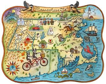 "State Map of Massachusetts 11"" x 14"" Art Print"