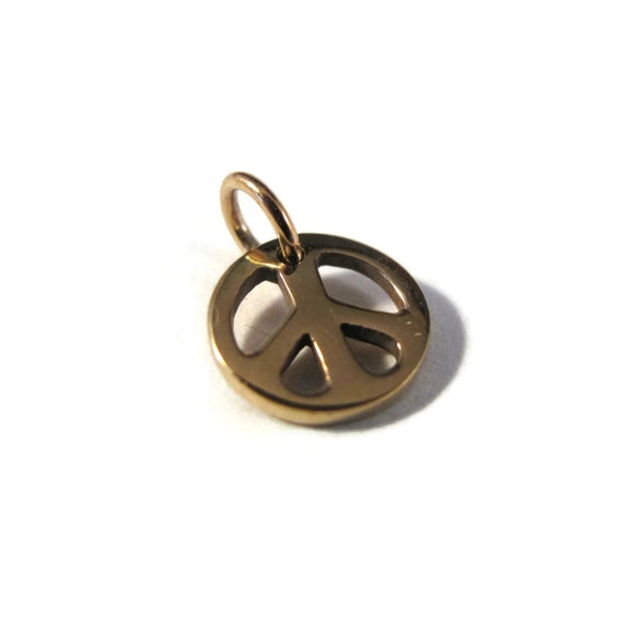 Peace Sign Charm, Natural Bronze Charm, Small Gold Peace Sign Charm, Jewelry Supplies, Charm Bracelet or Necklace (CH-544b)