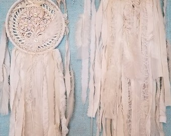 Duex Flower Dreams - Abandoned Vintage Bits of Fabric Crochet and Lace Shabby Chic Dreamcatcher