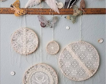 Dream Catcher, Set of Dream Catchers, Crochet & Lace Dreamcatcher, Beach Wedding, Boho Bedroom, Woodland Nursery, Rustic, Shabby Chic Decor