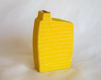 small yellow scrafitto porcelain vase