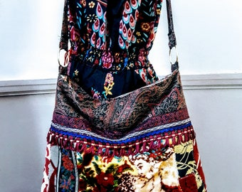 Beautiful patchwork vintage velvet and tapestry boho bag With Lots Of Reds crossbody purse