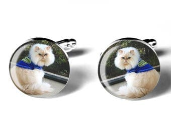 Pet Photo Cufflinks, Personalized, Memorial Keepsake, Dogs, Cats, Weddings, Birthdays, Handmade, Remembrance Gift