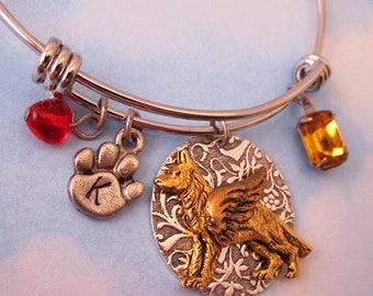 German Shepherd Angel Bracelet. German Shepherd Memorial Jewelry Gifts FREE Engraving. Personalized Bracelet Initial Birthstone Remembrance