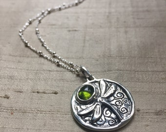 Green Tourmaline and Sterling- The Dragonfly Pendant