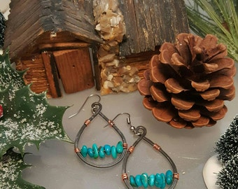 Kingman Mine Turquoise nuggets, hammered steel and copper wire teardrop earrings.