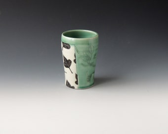 Green Kudzu Tumbler - ceramic porcelain clay cup with stencil leaves and mishima vine - handmade wheel thrown pottery