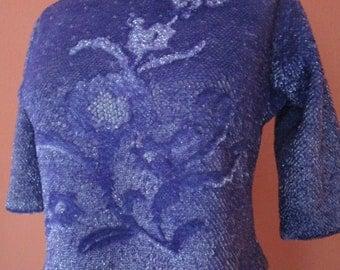 Bust 40 Purple Beaded 1960s Sequin Wool Shell Sweater Metal Zipper