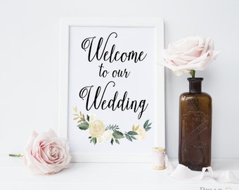 Welcome to Our Wedding / Wedding Welcome Sign / Wedding Welcome Printable / Welcome to Our Wedding Print