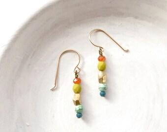 Small Earrings // Simple Jewelry // Everyday Earrings // Beaded Earrings // Gifts Ideas for Women // Boho Jewelry / Handmade Dangle Earrings