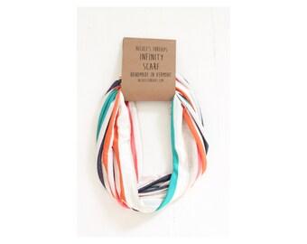 Infinity Scarf - Jersey - White, Teal, Orange Navy Stripes - Knit Fabric - Stretch - Scarf