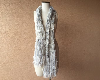 Scarf Gift-for-Her Soft Scarf Gift for Woman Fashion Accessories Grey and Cream Scarf with Fringe Cream and Grey Scarf Neutral Scarf