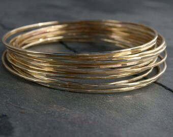 Gold Filled Bangles 14k Gold Fill Bracelets Set of Twelve Stacking Bracelet Stack Stackable Bangle Skinny 14 Karat Dozen 12 Summer Festival