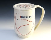 Resist! Hand-painted Mug with Lid, Pottery Mug with Cover, Lidded Coffee Mug