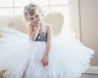 Gray Flower Girl Tutu Dress, Grey Tutu Dress