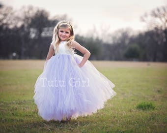 Lavender Flower Girl dress, Ivory Lavender Tutu Dress