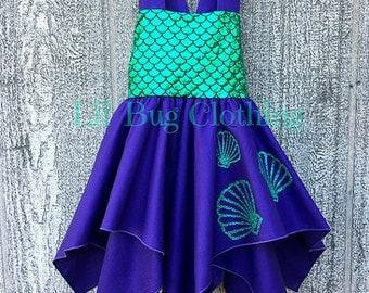 Mermaid Seashell Girl Handkerchief Dress, Mermaid Birthday Girl Seashell Dress, Mermaid Ariel Princess Dress, Mermaid Birthday Party Dress