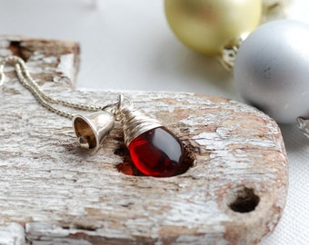 Red Glass Necklace, Christmas Necklace, Silver Bell, Red Glass Pendant, Bell Necklace, Shiny Sterling Silver Necklace, Holiday Jewelry