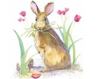 Rabbit Print - Bunny Print - Woodland Nursery Art - Woodland Creature Nursery Art - Baby Rabbit Print - Bunny Rabbit Print Bunny Watercolor