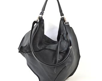 Noelle - Black Leather Shoulder Bag Handmade SS17