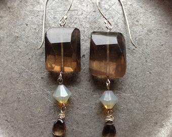 Smoky Topaz Earrings Baroque Elegance Monochromatic Gemstone Jewelry