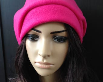 Fleece Hat Slouchy Beret Tam Hot Pink Cold Weather Fashion