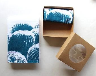 Teal & White Barrel Cactus Cloth Napkin Set - Boho Desert Cactus Design - Modern Southwest Decor