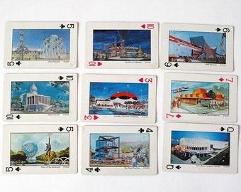 Worlds Fair Cards, 1964 - 65 Playing Cards, New York Worlds Fair Souvenir, Mid Century Modern Architecture, Stanford Card Deck, Ephemera