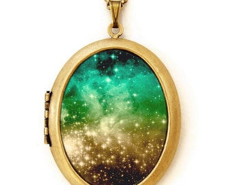 Photo Locket - Galaxy - Constellation Stars Cosmic Heaven Galaxy Photo Locket Necklace