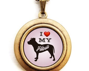 Dog Breed Locket - Choose Your Breed - Silhouette Dog Breed Locket Necklace -Light Pink Background - 31 Breeds to Choose From