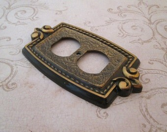 Outlet Cover Plate, Amerock, Vintage Switchplate, Decorative Switch Plate, electrical outlet cover, outlet plate, bronze light switch cover